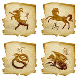 Set icon zodiac old #05. Royalty Free Stock Images