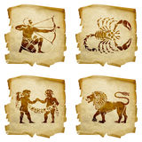 Set icon zodiac old #01. Royalty Free Stock Photos