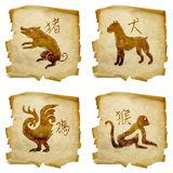 Set icon zodiac old #06. Stock Photography