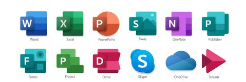 Free Set Icons 01 Of 02 -  Microsoft Office 365 Stock Photography - 211857142