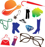 Set Icons - 106C. Clothing And Shoes Royalty Free Stock Photography