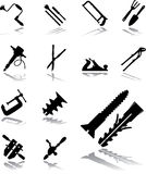 Set icons - 112. Tools. Gavel, saws, screwdrivers, scissors and other joiner's instruments for your design Royalty Free Stock Photos