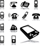 Set icons - 134. Phones. Phones, mobiles, cellphones and other electronic devices for communication Royalty Free Illustration