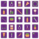 Set of icons. With lady's objects Stock Images