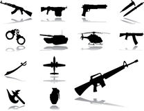 Set icons - 154. Weapon. Military equipment (guns, grenades, knives and other weapon) for your design Royalty Free Stock Images