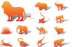 Set icons - 25A. Animals. Silhouettes of animals from all parts of the world for your design or business Stock Images