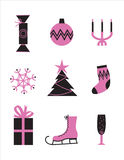 Set of icons. Set of pink and black Christmas icons Royalty Free Stock Photography