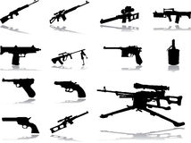 Set icons - 46. Guns. Set of 13 vector icons for web Stock Images