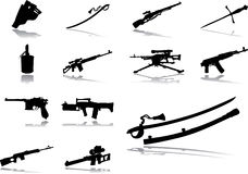 Set icons - 66. Guns. Set of 13 vector icons for web Stock Image
