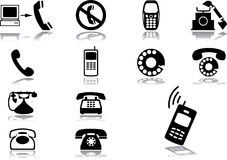 Set icons - 67. Phones. 13 icons with phones, mobiles and cellphones Vector Illustration