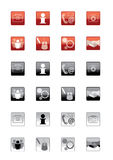 Set of icons. Eight different web buttons representing the following directions: services, information, communication, photo, team, projects, manufacturing