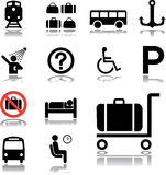 Set icons - 84. Transport icons. Icons and symbols used at stations and aeroports Stock Illustration