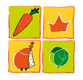 Set of Icons. Illustration set of icons.  Carrot, king, crown and plant.  Isolated against a white background.  Vector format available Stock Images