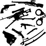 Set icons - 91C. Weapon. Military equipment (guns, grenades, knives and other weapon) for your design Stock Image