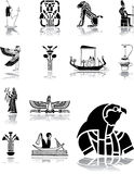 Set icons - 96. Egypt. Set of ancient frescos with egyptian themes for your project