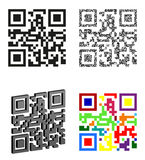 Set icons abstract qr code vector illustration Royalty Free Stock Photography