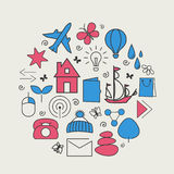Set with icons - abstract symbols Royalty Free Stock Images
