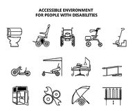 Set of icons on accessible environment for people with disabilities. Vector illustration stock illustration