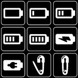 Set of icons (accumulator, battery) Royalty Free Stock Images