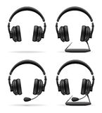 Set icons acoustic headphones vector illustration Royalty Free Stock Photo