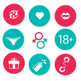 Set of icons adult  relations Royalty Free Stock Photo
