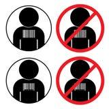 Set of icons against human slavery trafficking stock illustration