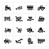 Set icons of agricultural machinery Royalty Free Stock Photography