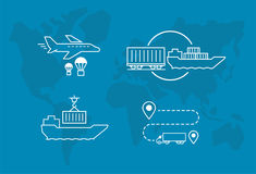 Set of icons Air Railway and water freight transport Shipping delivery transportation. Stock Photo