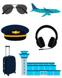 Set icons airplane pilot Stock Photos