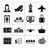 Set icons of airport. Isolated on white stock illustration