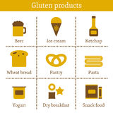 Set of icons with allergic gluten products: bread Stock Photography