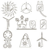 Set of icons of alternative and clean energy. On a white background Royalty Free Stock Image