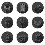 Set of icons on ancient Egypt theme Royalty Free Stock Photo