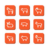 Set with icons - animals on a farm Royalty Free Stock Images