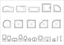Set of icons for architectural plans. Plumbing from baths, sinks and toilets, showers. Vector graphics stock illustration