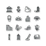 Set of icons - architecture, sculpture, decorative arts Stock Photo