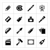 Set icons of art. Isolated on white Stock Photo