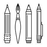 Set of icons for art supplies Royalty Free Stock Photography