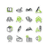 Set of icons - arts. A literature, theater, radio. Royalty Free Stock Photo