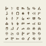 Set of icons - arts. Set of vector icons - music, circus, ballet, literature, theater, radio Royalty Free Stock Photo