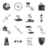 Set of icons associated with loans and interest rates on them on a white isolated background. Vector. Illustration Stock Photography
