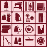 Set of icons. atelier. Set of monochrome icons for the garment industry Stock Photos