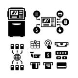 Set icons of ATM. Isolated on white Stock Photos