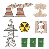 Set of icons for atomic energy Stock Photography