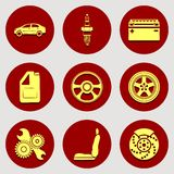 Set of icons auto parts. Flat design. Stock Photography