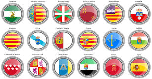Set of icons. Autonomous communities of Spain flags. Royalty Free Stock Images