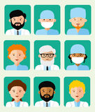 Set of icons avatars doctors Royalty Free Stock Images