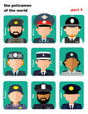 Set of icons avatars the police officers. From all over the world, flai icons, vector illustration, women and men, apps Royalty Free Stock Image