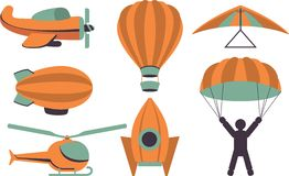 Set of icons aviation. Set of icons of aviation in a retro style on a white background stock illustration