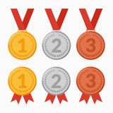 Set of icons of award winning medals. Vector illustration. Set of icons of award winning medals. The first, second, third place. Gold, silver, bronze Royalty Free Stock Photos